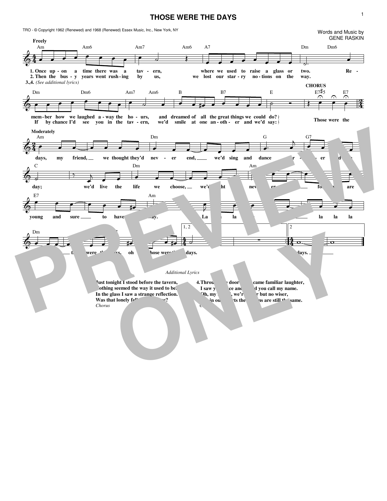 Mary Hopkins Those Were The Days sheet music notes and chords. Download Printable PDF.