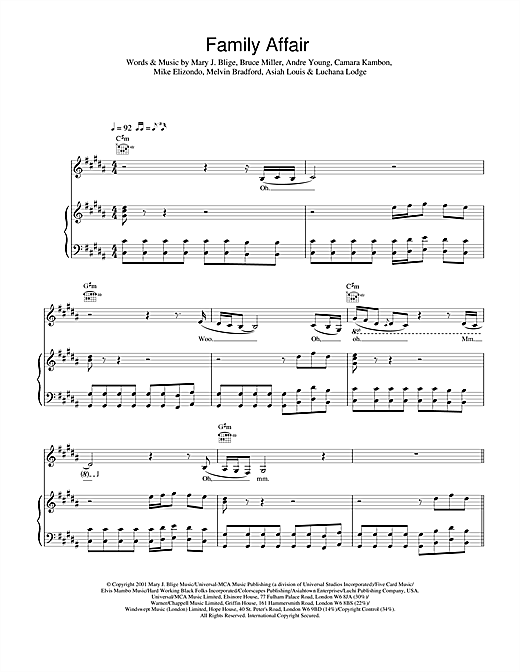 Mary J. Blige Family Affair sheet music notes and chords. Download Printable PDF.