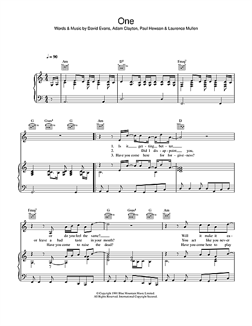 Mary J Blige Ft U2 One Sheet Music Notes Chords Download Printable Piano Vocal Guitar Right Hand Melody Sku 36459