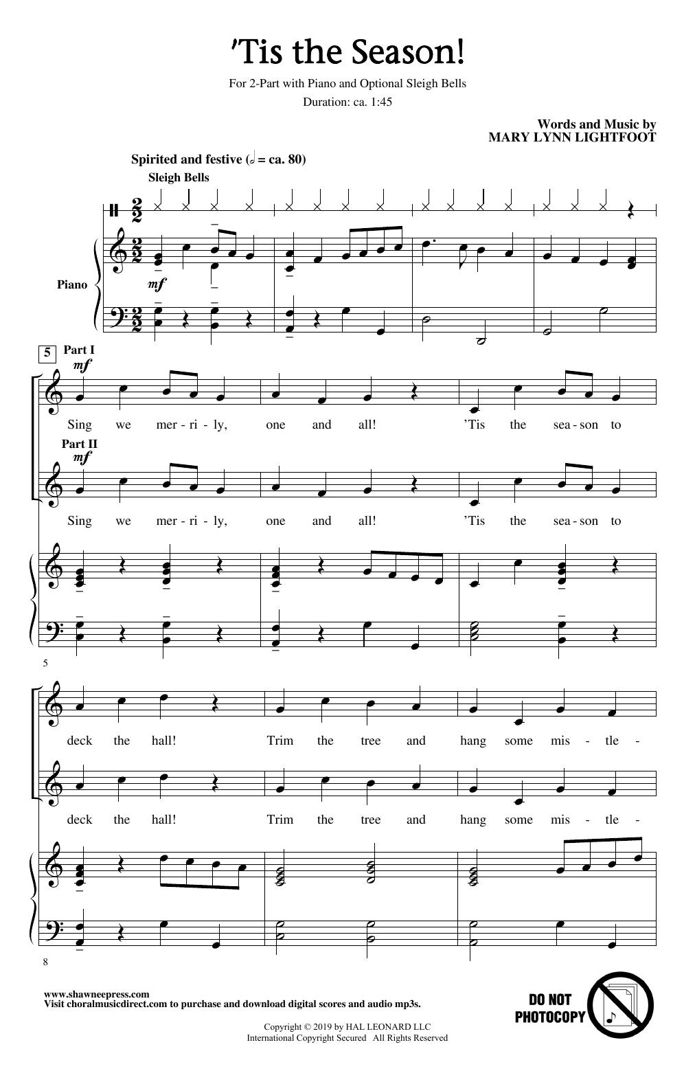 Mary Lynn Lightfoot 'Tis The Season! sheet music notes and chords. Download Printable PDF.