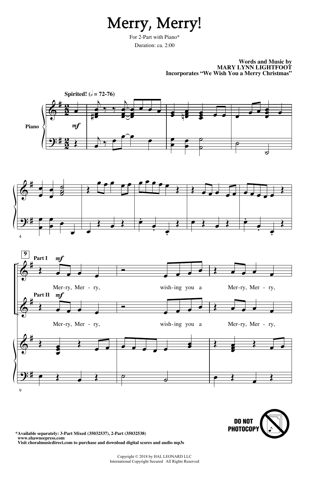 Mary Lynn Lightfoot Merry, Merry! sheet music notes and chords