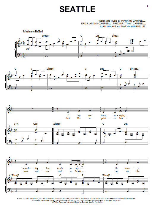 Mary Mary Seattle sheet music notes and chords. Download Printable PDF.