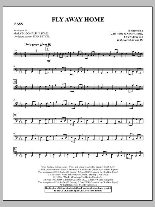 Mary McDonald Fly Away Home - Acoustic Bass sheet music notes and chords. Download Printable PDF.