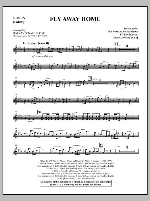 Mary McDonald Fly Away Home - Violin sheet music notes and chords. Download Printable PDF.