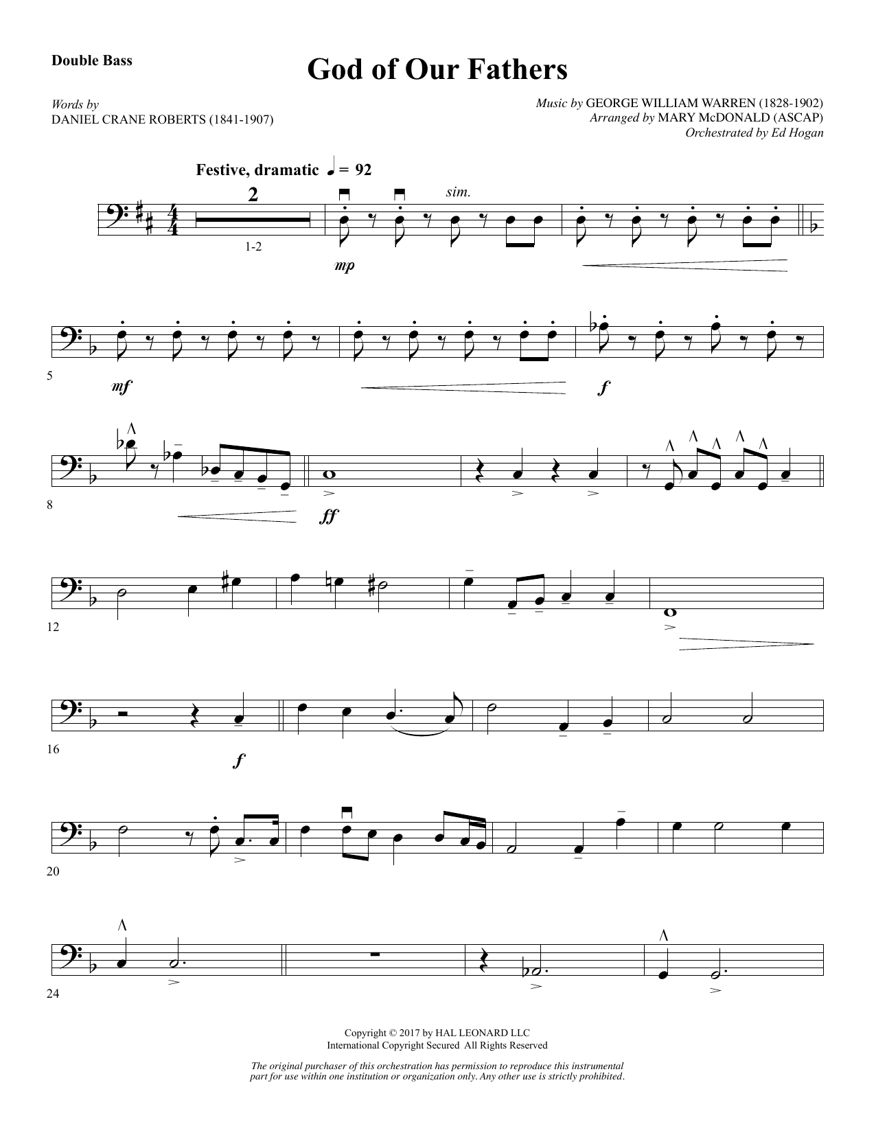 Mary McDonald God of Our Fathers - Double Bass sheet music notes and chords. Download Printable PDF.
