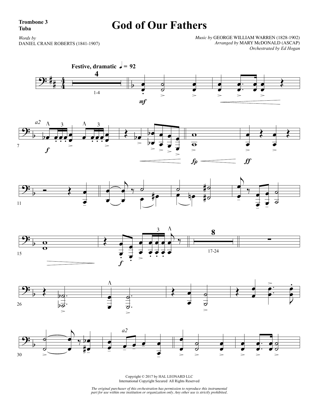 Mary McDonald God of Our Fathers - Trombone 3/Tuba sheet music notes and chords. Download Printable PDF.