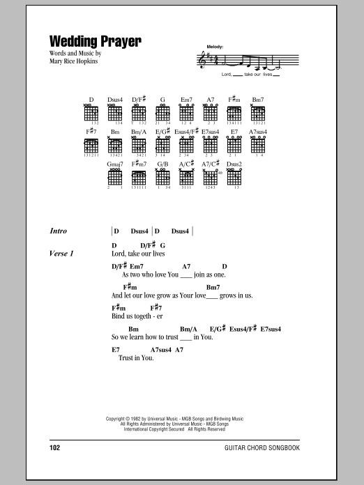 Mary Rice Hopkins Wedding Prayer sheet music notes and chords
