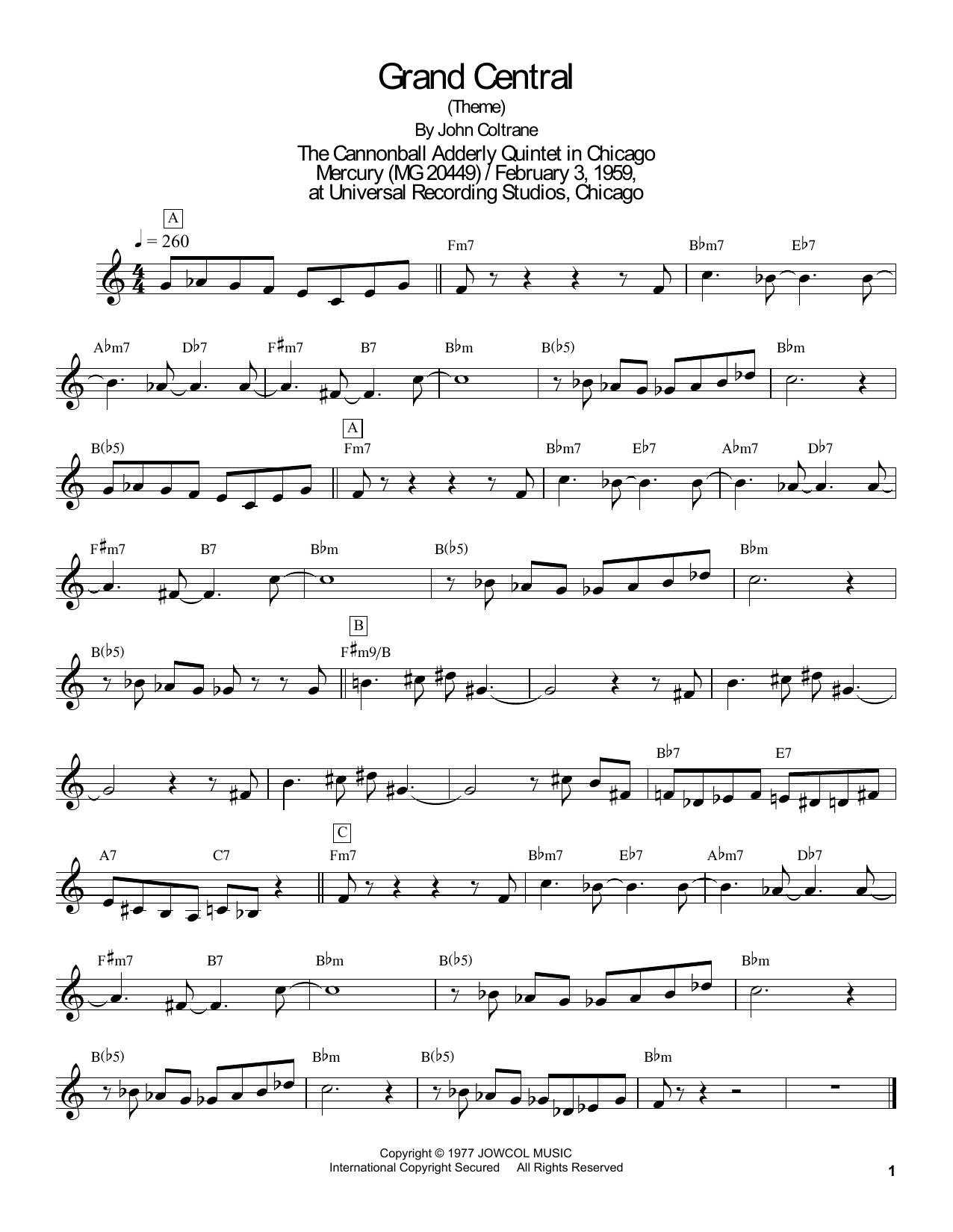 Masaya Yamaguchi Grand Central sheet music notes and chords. Download Printable PDF.