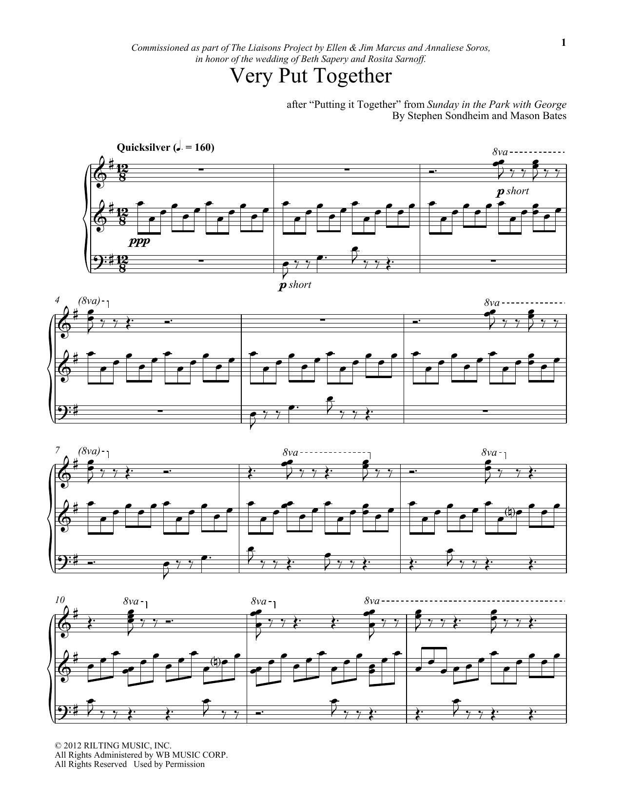 Stephen Sondheim Very Put Together (arr. Mason Bates) sheet music notes and chords. Download Printable PDF.