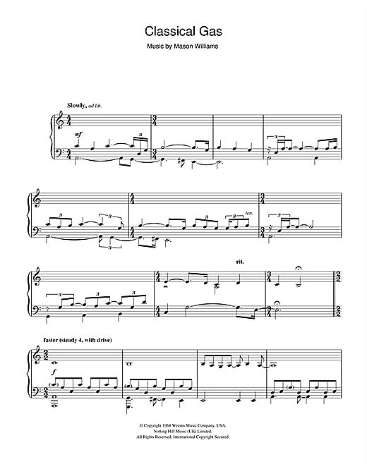 Mason Williams Classical Gas sheet music notes and chords
