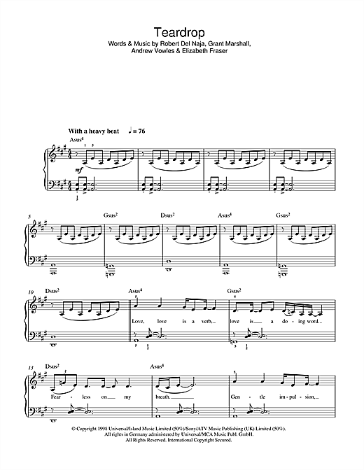 Massive Attack Teardrop sheet music notes and chords. Download Printable PDF.