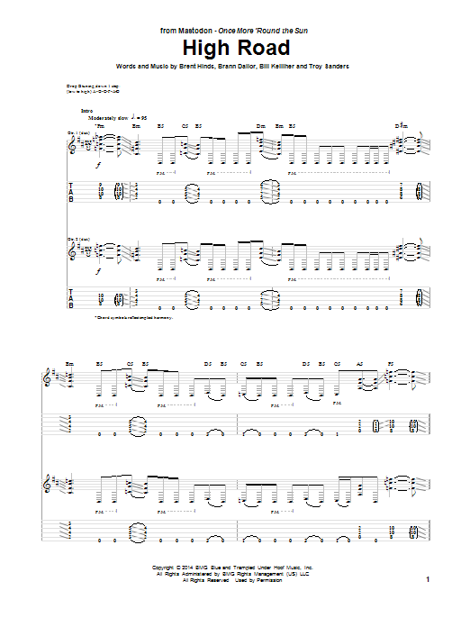 Mastodon High Road sheet music notes and chords. Download Printable PDF.