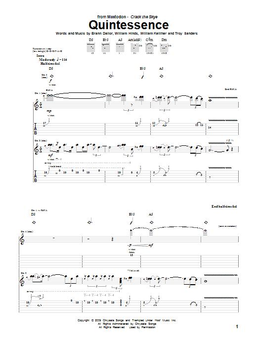 Mastodon Quintessence sheet music notes and chords. Download Printable PDF.