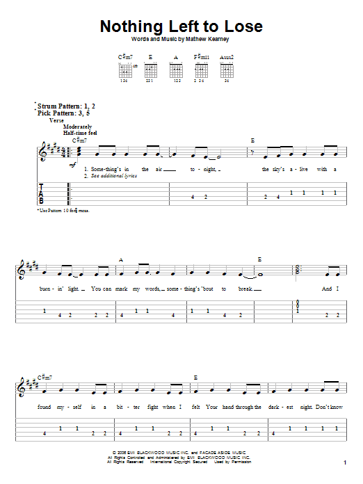 Mat Kearney Nothing Left To Lose sheet music notes and chords. Download Printable PDF.