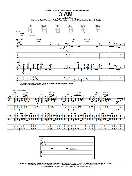 Matchbox Twenty 3 AM sheet music notes and chords