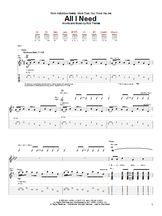 Matchbox Twenty All I Need sheet music notes and chords. Download Printable PDF.