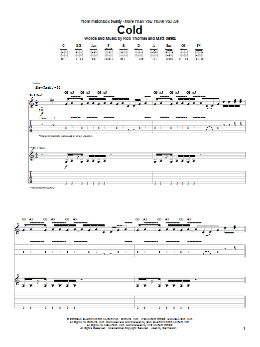 Matchbox Twenty Cold sheet music notes and chords. Download Printable PDF.