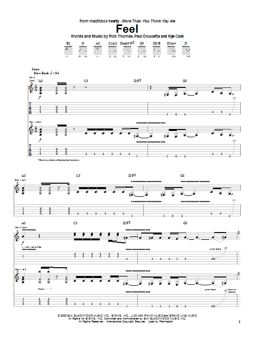 Matchbox Twenty Feel sheet music notes and chords. Download Printable PDF.