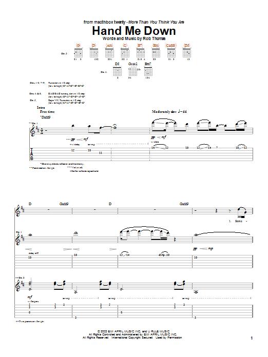 Matchbox Twenty Hand Me Down sheet music notes and chords. Download Printable PDF.
