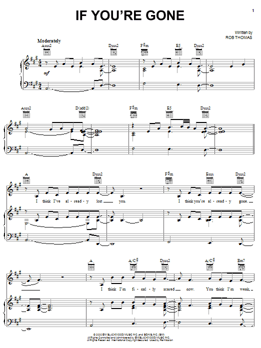 Matchbox Twenty If You're Gone sheet music notes and chords. Download Printable PDF.