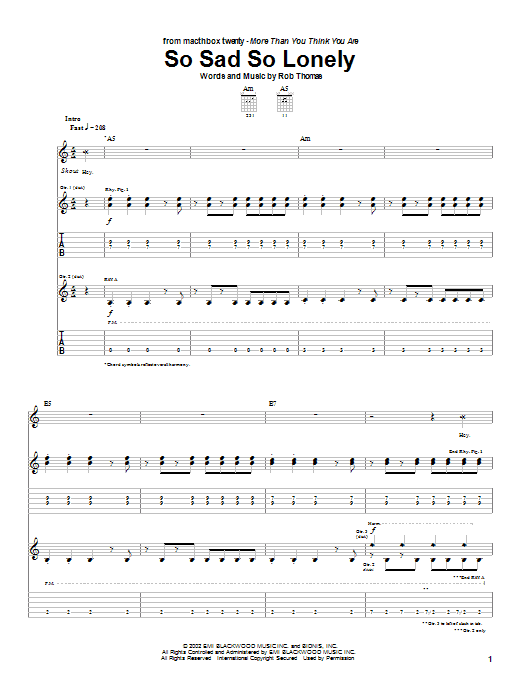 Matchbox Twenty So Sad So Lonely sheet music notes and chords. Download Printable PDF.