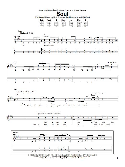 Matchbox Twenty Soul sheet music notes and chords. Download Printable PDF.