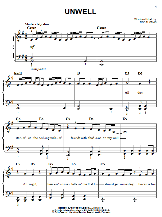 Matchbox Twenty Unwell sheet music notes and chords. Download Printable PDF.