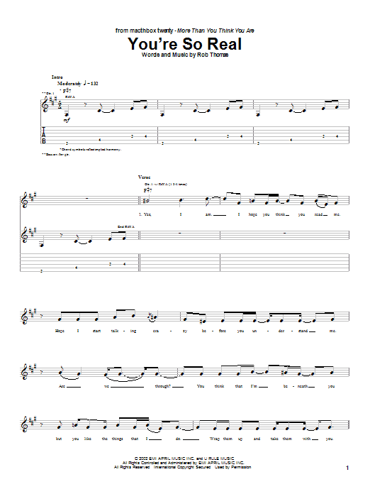 Matchbox Twenty You're So Real sheet music notes and chords. Download Printable PDF.