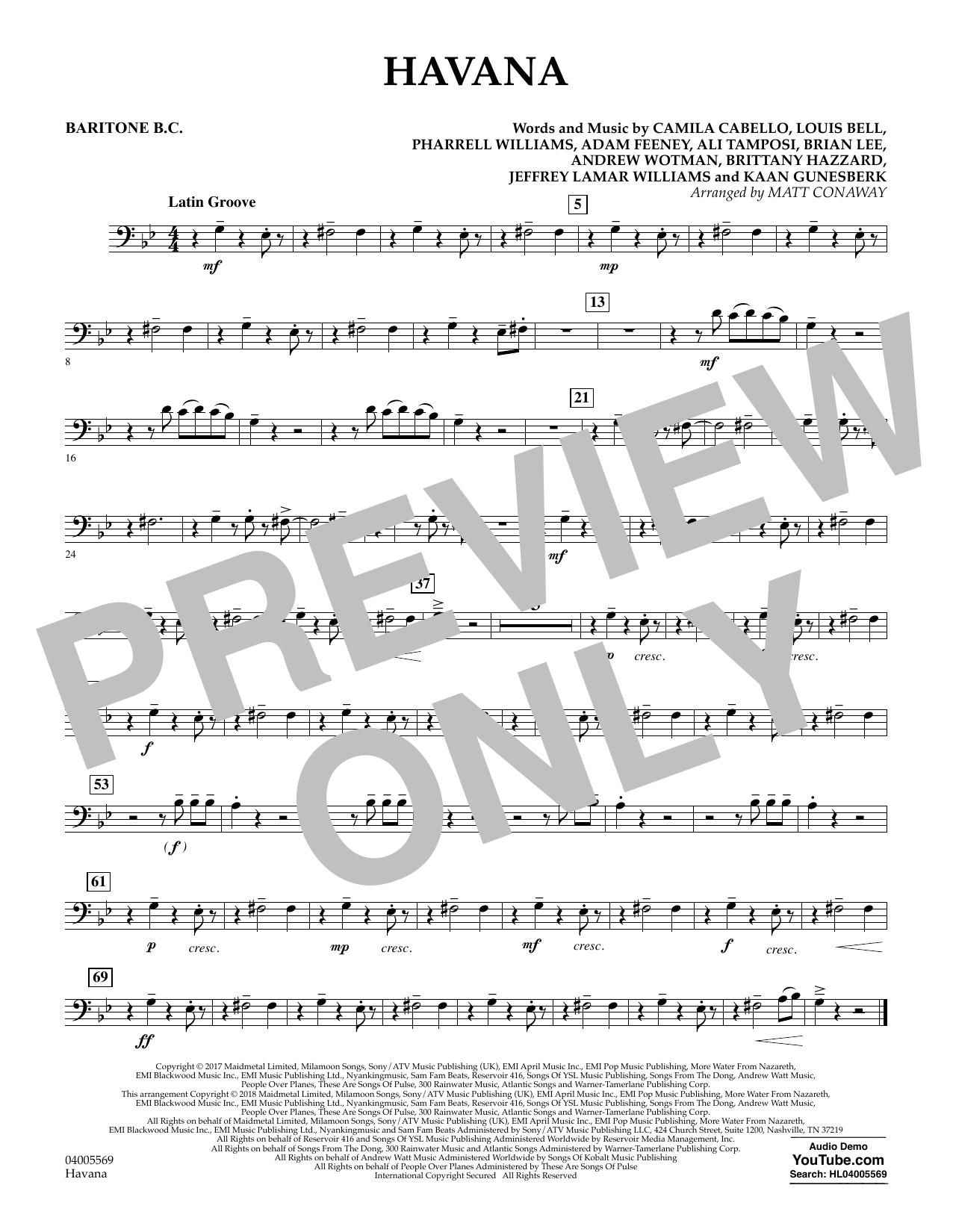 Matt Conaway Havana - Baritone B.C. sheet music notes and chords. Download Printable PDF.
