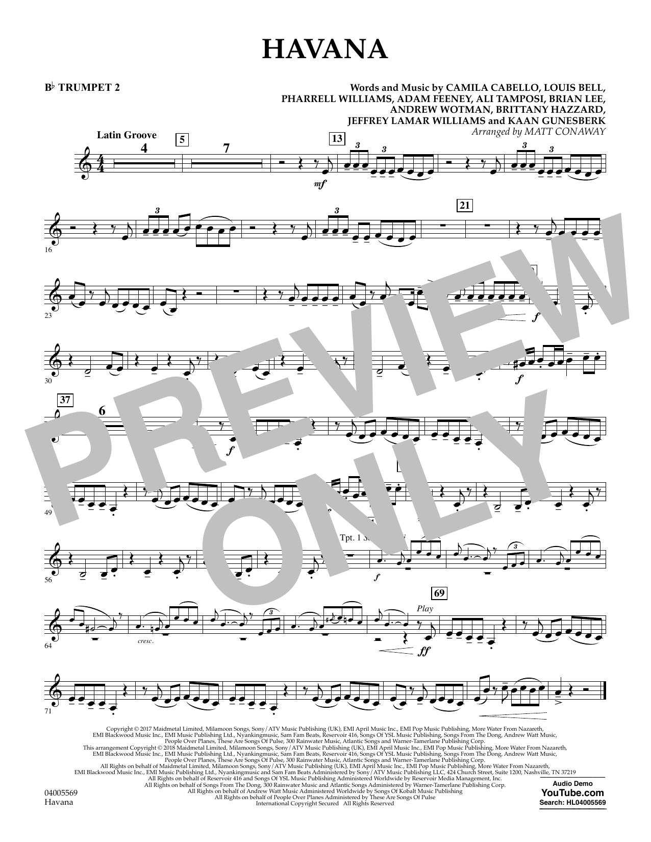 Matt Conaway Havana - Bb Trumpet 2 sheet music notes and chords. Download Printable PDF.