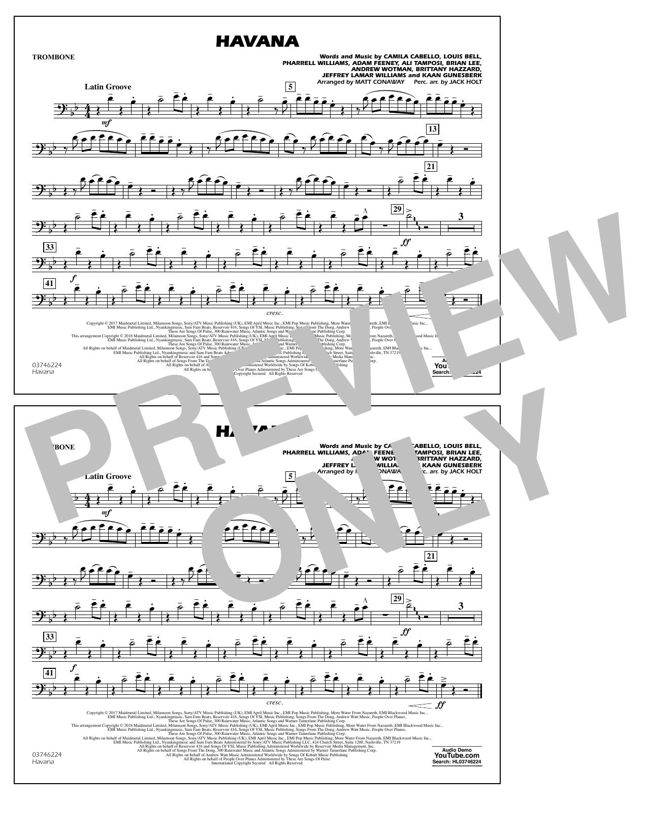 Matt Conaway Havana - Trombone sheet music notes and chords. Download Printable PDF.