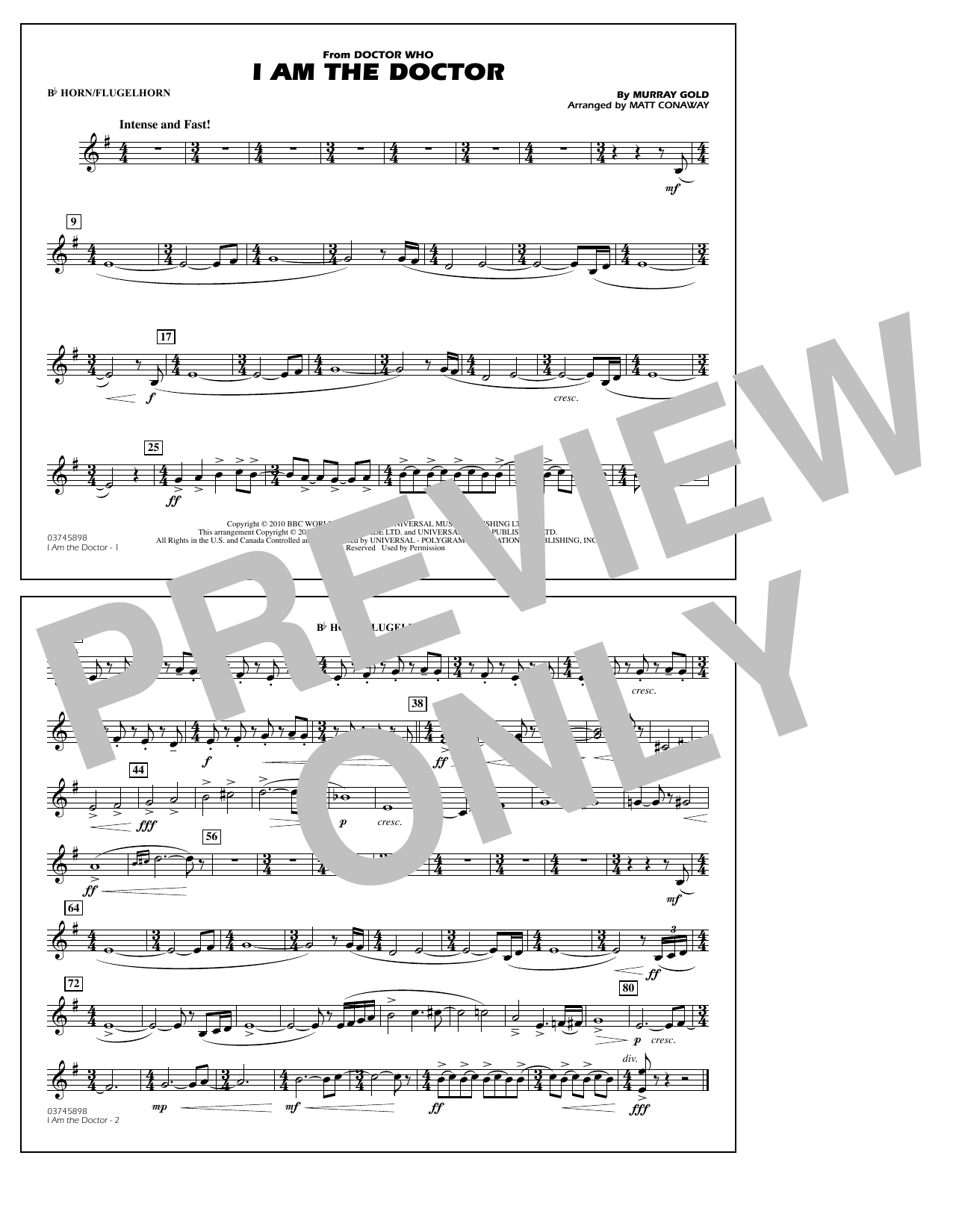 Matt Conaway I Am the Doctor (from Doctor Who) - Bb Horn/Flugelhorn sheet music notes and chords