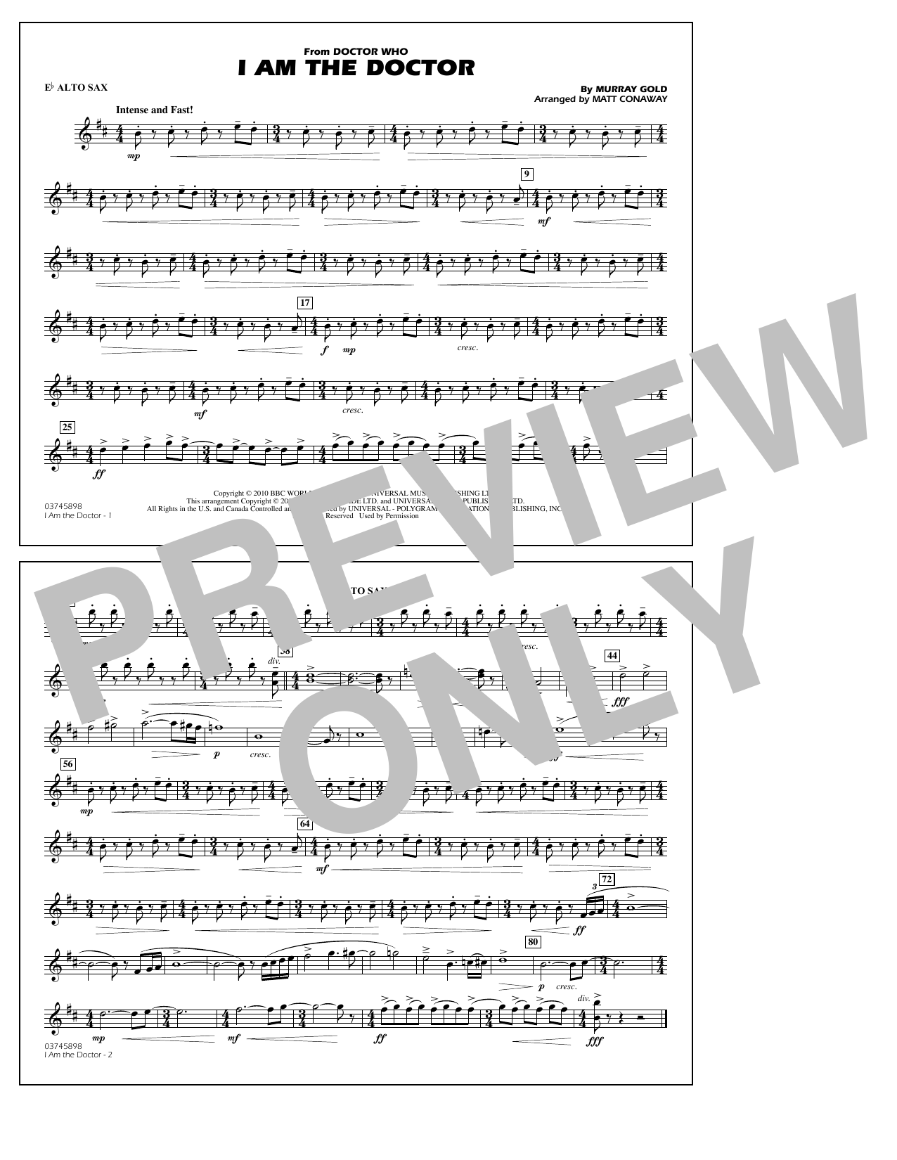 Matt Conaway I Am the Doctor (from Doctor Who) - Eb Alto Sax sheet music notes and chords