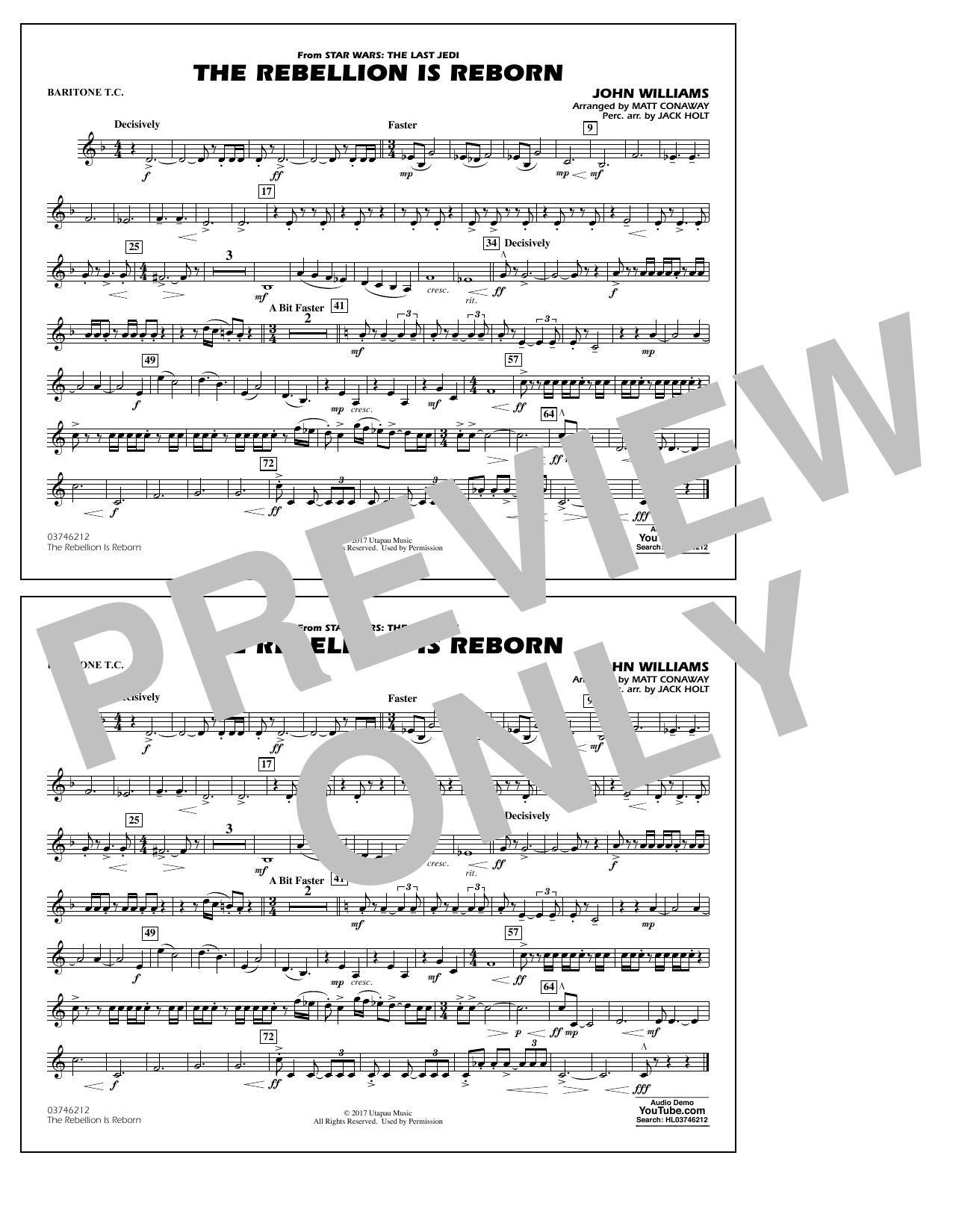 Matt Conaway The Rebellion Is Reborn - Baritone T.C. sheet music notes and chords