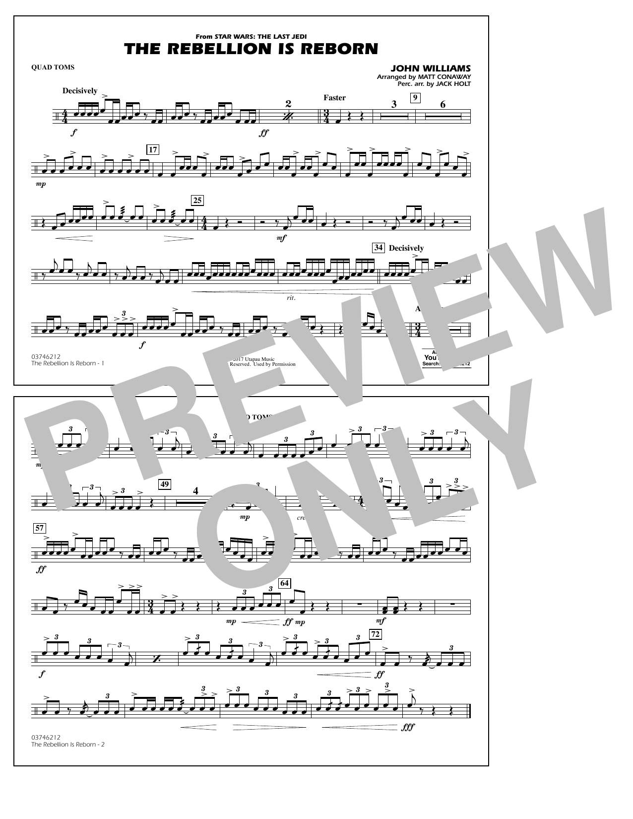 Matt Conaway The Rebellion Is Reborn - Quad Toms sheet music notes and chords
