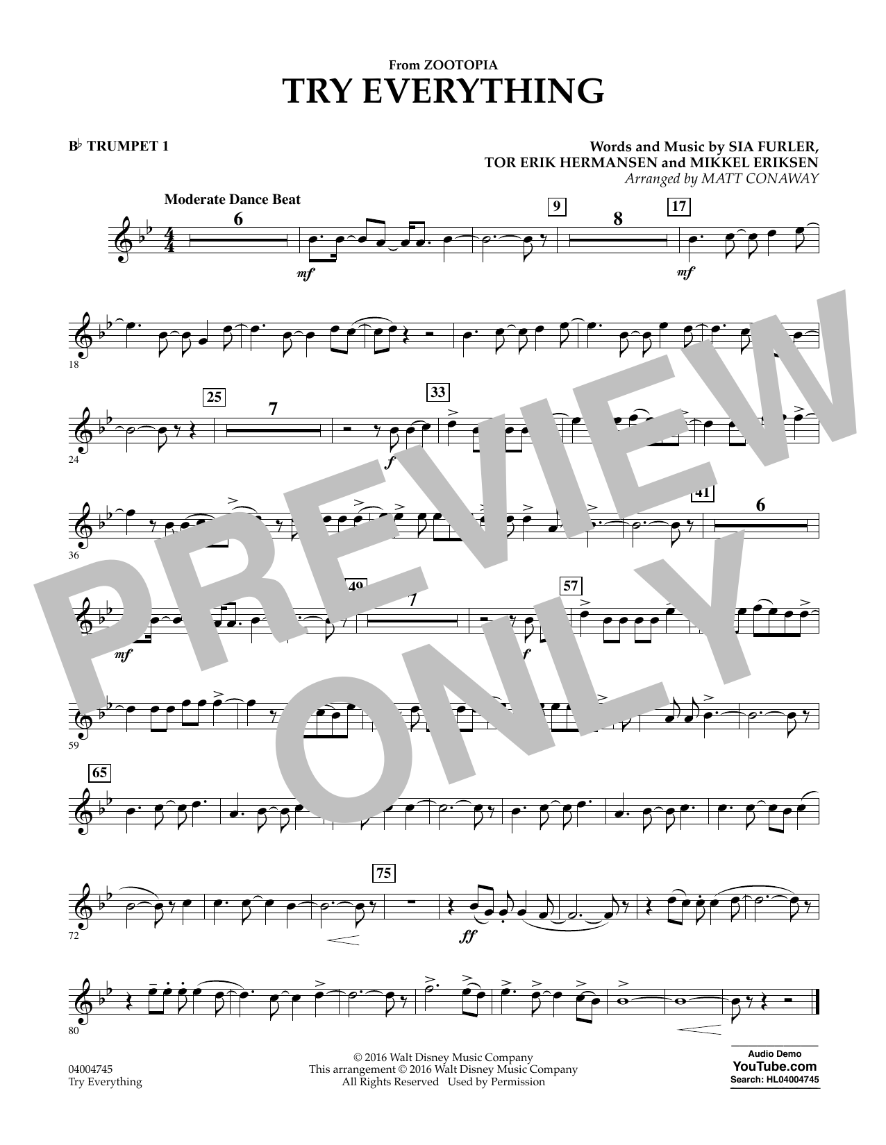 Matt Conaway Try Everything From Zootopia Bb Trumpet 1 Sheet Music Pdf Notes Chords Children Score Concert Band Download Printable Sku 352067