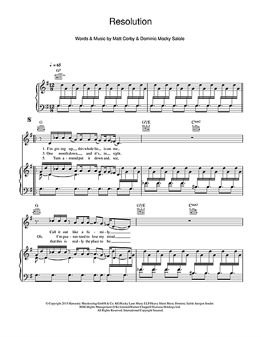 Matt Corby Resolution sheet music notes and chords