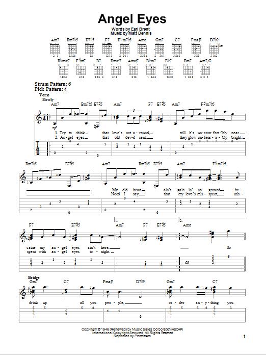 Earl Brent & Matt Dennis Angel Eyes sheet music notes and chords. Download Printable PDF.