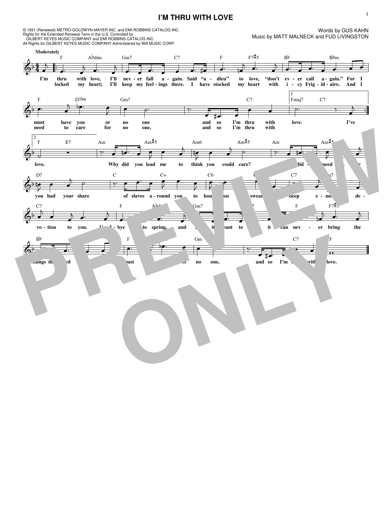 Matt Malneck I'm Thru With Love sheet music notes and chords. Download Printable PDF.