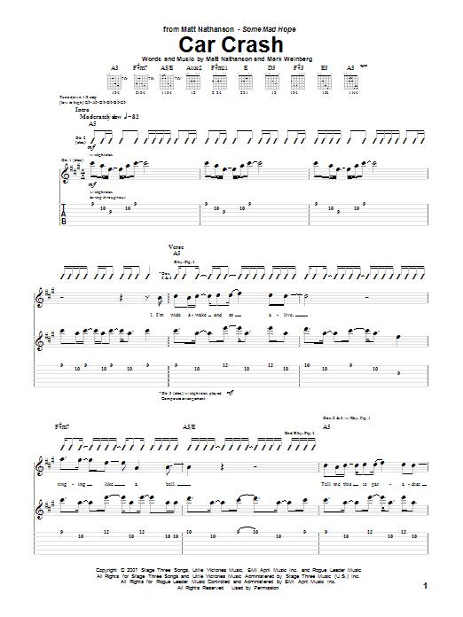 Matt Nathanson Car Crash sheet music notes and chords. Download Printable PDF.