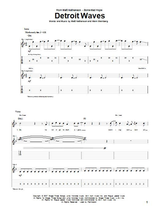 Matt Nathanson Detroit Waves sheet music notes and chords. Download Printable PDF.