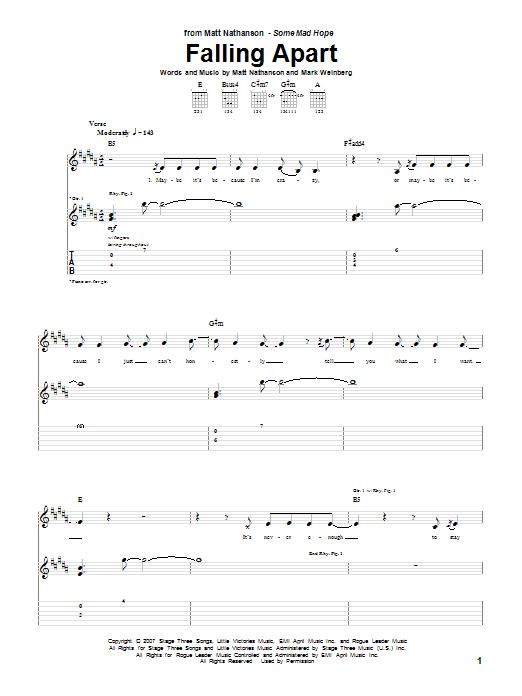 Matt Nathanson Falling Apart sheet music notes and chords. Download Printable PDF.