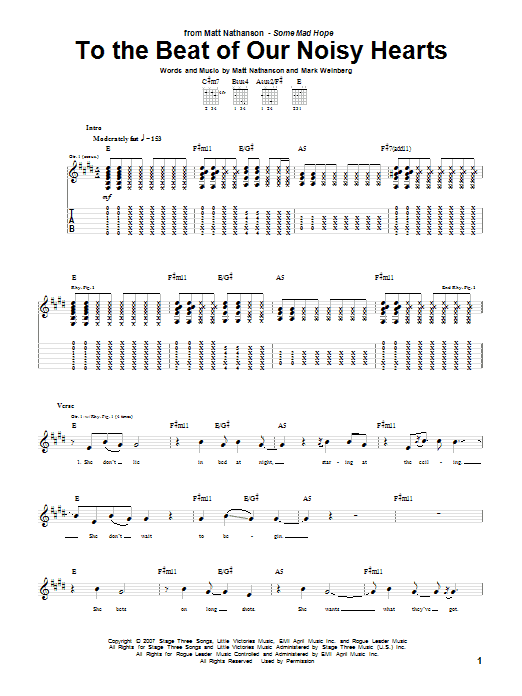 Matt Nathanson To The Beat Of Our Noisy Hearts sheet music notes and chords. Download Printable PDF.