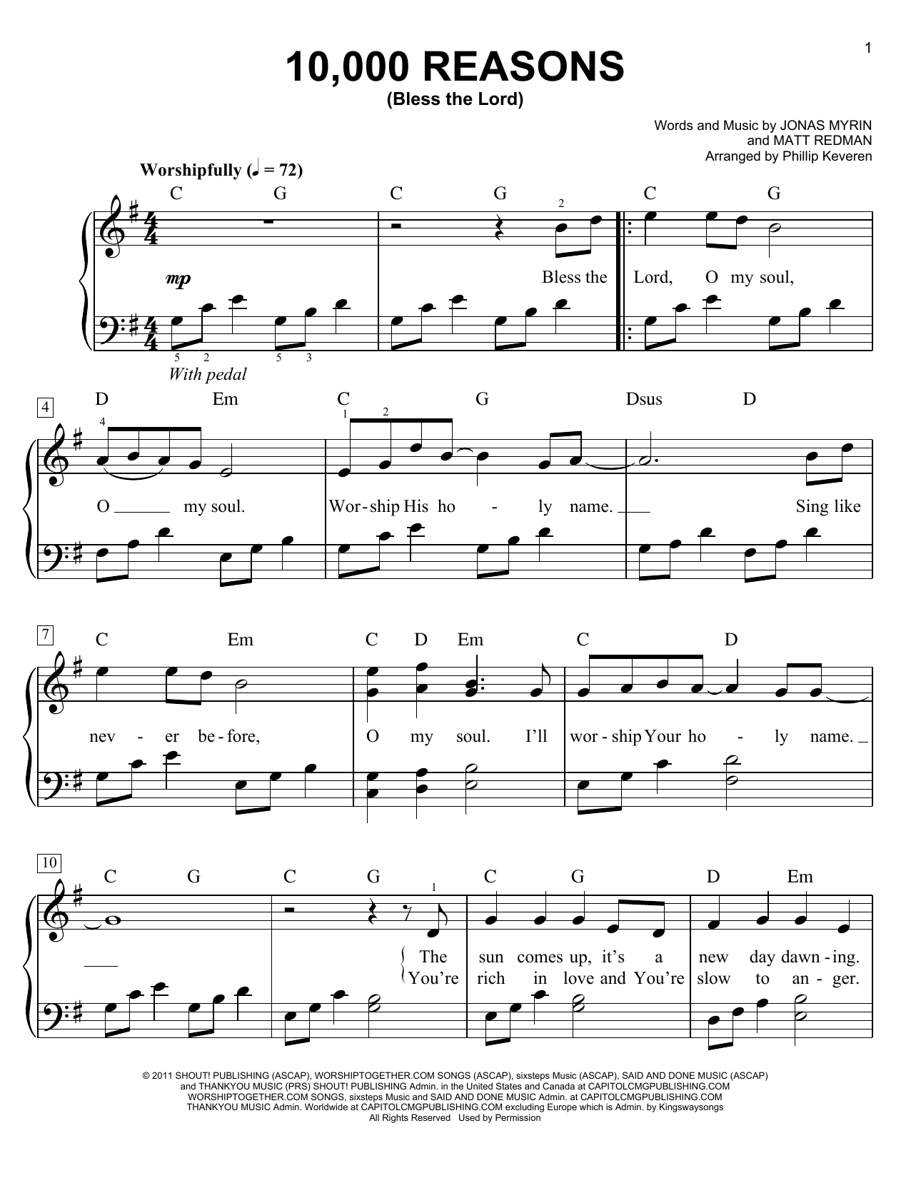 Matt Redman 10,000 Reasons (Bless The Lord) (arr. Phillip Keveren) sheet music notes and chords. Download Printable PDF.