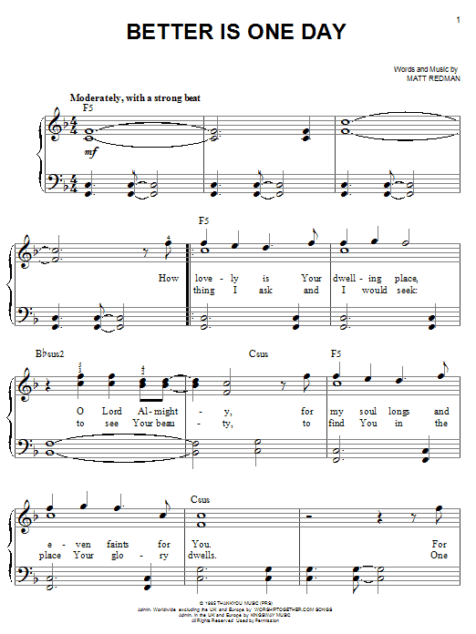 Matt Redman Better Is One Day sheet music notes and chords. Download Printable PDF.
