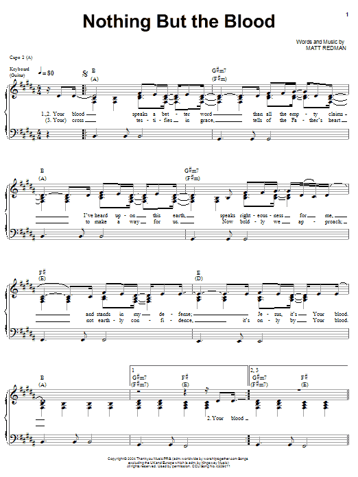Matt Redman Nothing But The Blood sheet music notes and chords. Download Printable PDF.