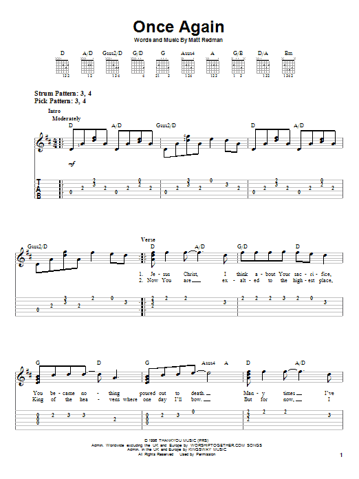 Matt Redman Once Again sheet music notes and chords. Download Printable PDF.