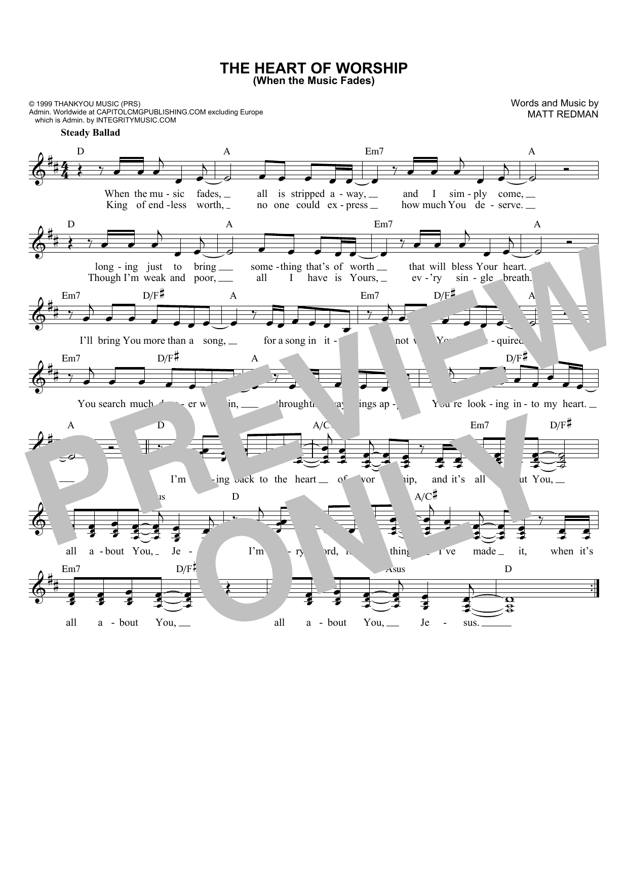 Matt Redman The Heart Of Worship (When The Music Fades) sheet music notes and chords. Download Printable PDF.