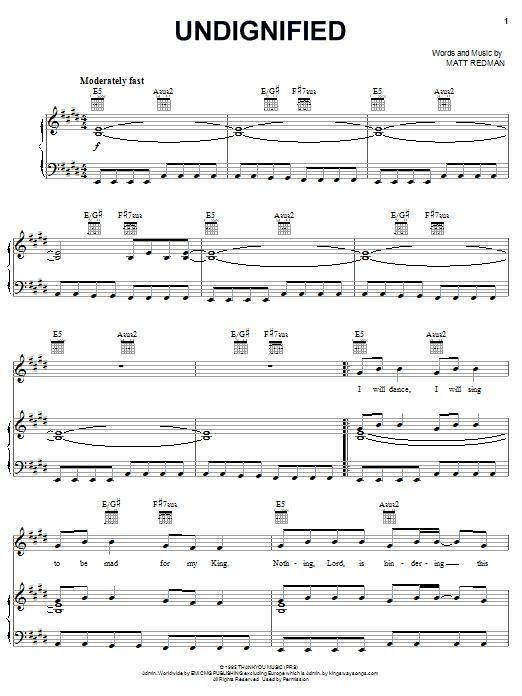 Matt Redman Undignified sheet music notes and chords. Download Printable PDF.