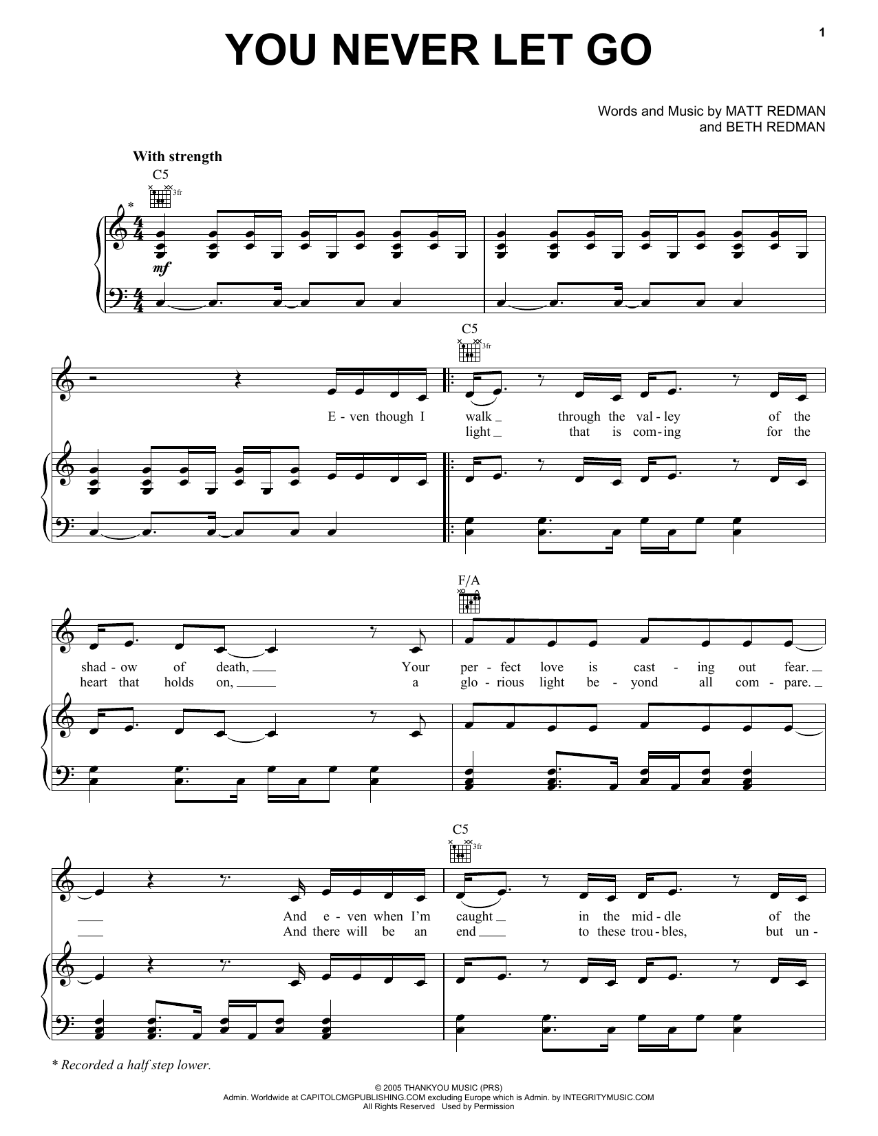 Matt Redman You Never Let Go sheet music notes and chords. Download Printable PDF.